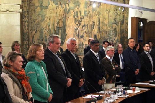 v.l.n.r. Peet Bakx, Piet van den Kieboom, Farid El-Khassim & Louis van der Kallen & hun vier zetels